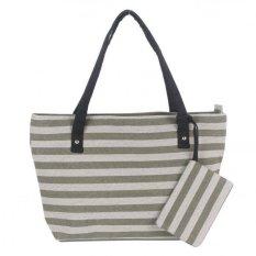 Woman Fashion Canvas ZM Handbag Green Stripe (YKFBB-30) - Intl