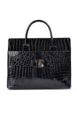 Women Ladies Large Capacity Stone Pattern PU Leather Tote Handbag Shoulder Messenger Bag Black - INTL