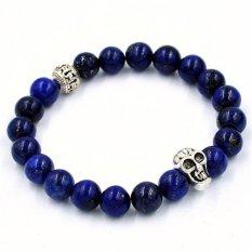 Women Men Bracelet Skull Elastic Beaded Bracelet Tibet Charm Bracelets Blue (Intl)