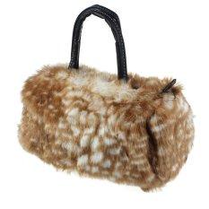 Women Plush Handbag Autumn Winter Handbag Shoulder Bag Purse Tote Beige