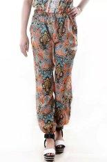 Women Printed Chiffon Elastic Mid Waist Loose Summer Full Length Pants Multicolor (Intl)