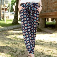 Women Summer Chiffon Pants Rhombus Printed Beach Bloomers- INTL