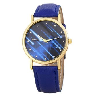 Women Watches Leather Band Analog Quartz Wrist Watch (Blue)