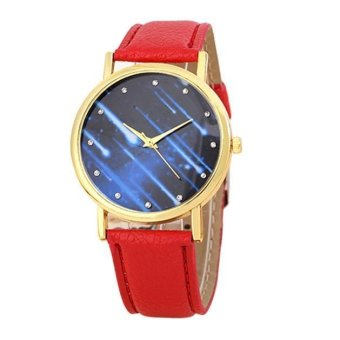 Women Watches Leather Band Analog Quartz Wrist Watch (Red)