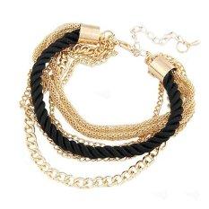 Womens Elegant Gold Chain Braided Rope Multilayer Bracelet Handmade Chain? Black