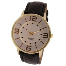 Womens Ladies Fashion Numerals Gold Dial Leather Analog Quartz Watch Black