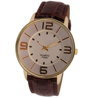 Womens Ladies Fashion Numerals Gold Dial Leather Analog Quartz Watch Brown