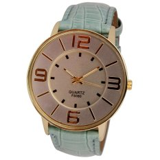 Womens Ladies Fashion Numerals Gold Dial Leather Analog Quartz Watch Sky Blue