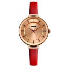 Women's Simple Slim Genuine Leather Quartz Waterproof Watch Gold