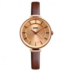 Women's Simple Slim Genuine Leather Quartz Waterproof Watch Light Coffee