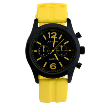 Women's Sports Watches For Fashion Brand Rubber Clock Ladies Silicone Quartz Wristwatch (Yellow)