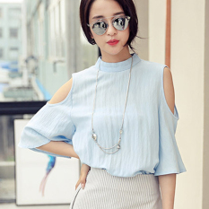 Women's Stand Collar Hollow Shoulder Linen Short Sleeve Shirt (Blue) - Intl - Intl