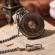 Wooden Men Pocket Watch Cool Luxury Lover Gift Chain Mechanical Hand Winding Bronze Watch Skeleton Steampunk Men Watch - Intl