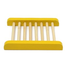 Wooden Soap Disher Sustainable Wood Soap Dish / Soap Shelf Bathroom Kitchen (Yellow) (Intl)