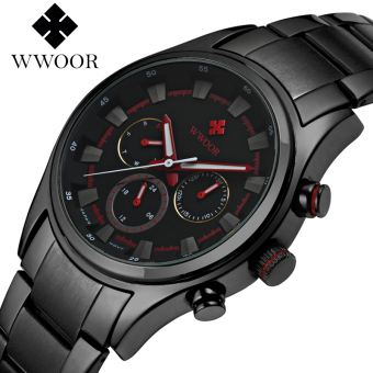 Wwoor 8815 Sporty (Red) / Chronograph (Date, Days & 24 Hours) / Stainless Steel (Black Strip-Red)