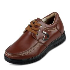X561.2.56 Inches Taller Men's Height Increasing Elevator Calf Leather Casual Shoes (Brown)