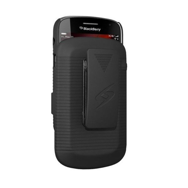 XCase Blackberry 9900/9930 Slim Rubberized Case with Clip Belt-Hitam