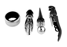 Xfsmy Wine Accessory Kit 4 Piece Set Drip Ring Corkscrew Bottle Opener Wine Pourer Stopper Set (Black And Silver)