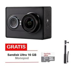 Xiaomi Yi Action Camera - 16 MP - International Edition- Hitam + Sandisk 16 GB + Monopod