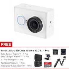 Xiaomi Yi Basic - 16 MP - Putih + Gratis Waterproof Case + Sandisk 32GB + 3-Way Monopod + Tas Medium + Battery + Charger