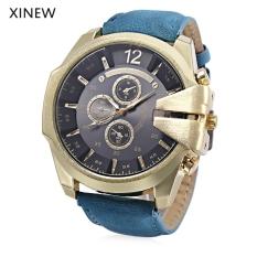 Xinew 0201 Male Quartz Watch Large Dial Decorative Sub-dial Luminous PU Band Wristwatch (Black)