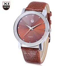 Xinew 1766 Men Quartz Watch Radial Pattern Artificial Diamond Dial Leather Strap Wristwatch (BROWN)