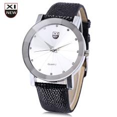 Xinew 1766 Men Quartz Watch Radial Pattern Artificial Diamond Dial Leather Strap Wristwatch (White)