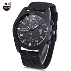 Xinew 2247G Men Quartz Watch Luminous Decorative Sub-dial Date Display Nylon Strap Wristwatch (BLACK)