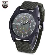 Xinew 2247G Men Quartz Watch Luminous Decorative Sub-dial Date Display Nylon Strap Wristwatch (GREEN)