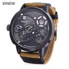 Xinew 5916 Male Dual Quartz Movt Watch Water Resistance Multiple Sub-dials Luminous Pointer Wristwatch (KHAKI)