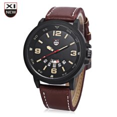 Xinew 7728 Men Quartz Watch Day Date Dispaly Big Dial Leather Strap Wristwatch (BROWN)
