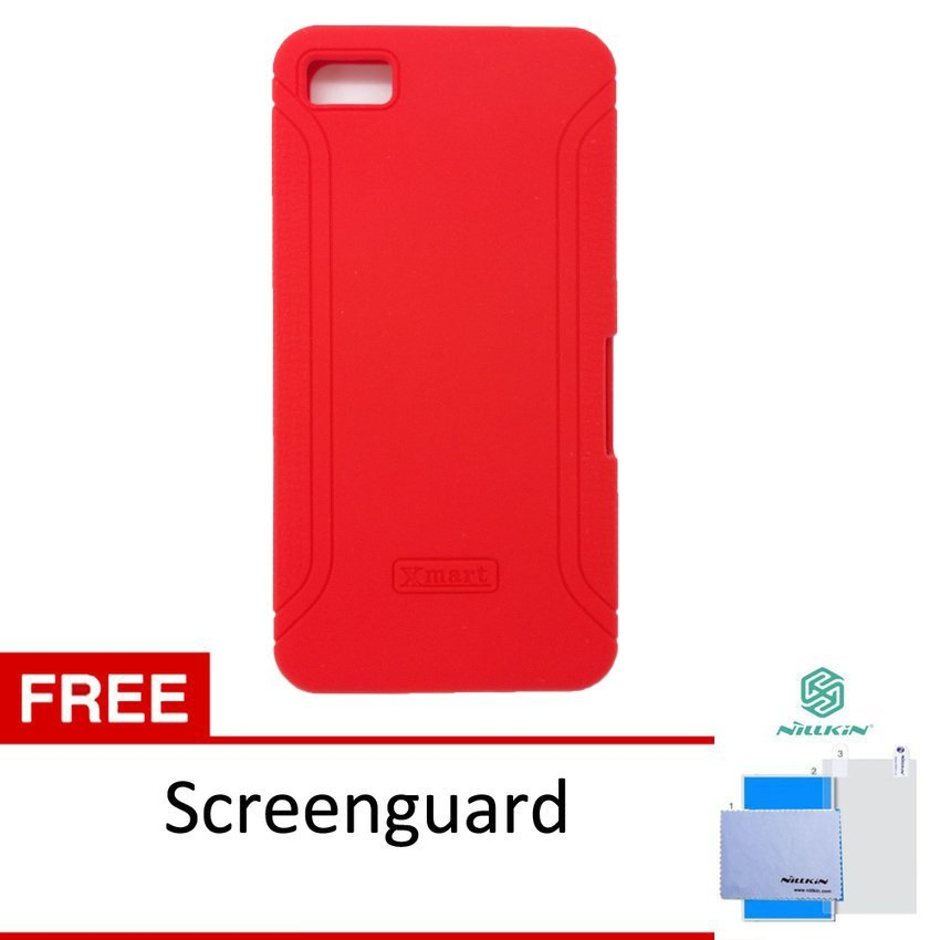 Xmart Softcase Blackberry Z10 Silicone Cell - Merah + Gratis Screen Guard