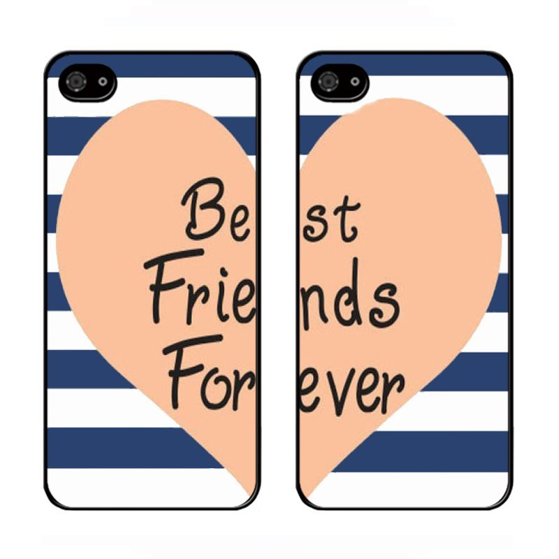 Y&M Cell Phone Couple Case For iPhone SE / 5S / 5 Best Friends Stripes Pattern 2PC Cover (Multicolor)