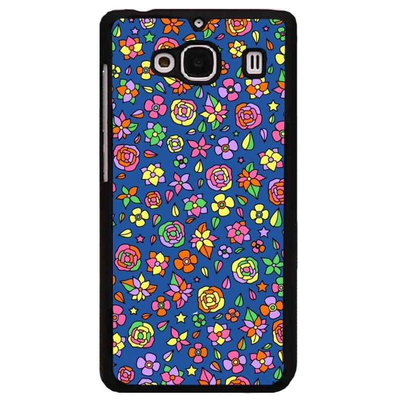 Y&M Colorful Flowers Blue Background Phone Shells for XiaoMi Red Mi 2 Multicolor