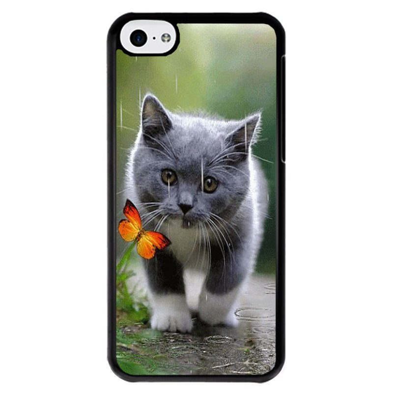 Y&M Grey Cat Yellow Butterfly Phone iPhone 5C Phone Shells (Multicolor)