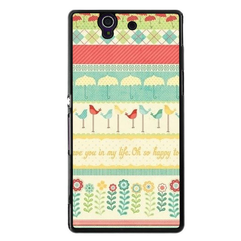 Y&M Lovely Birds and Floral Design Phone Case for Sony L36H (Multicolor)
