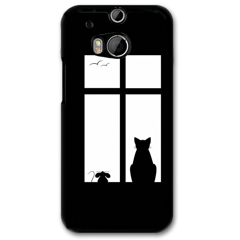 Y&M Mouse Cat In Window Phone Case for HTC M8 Multicolor