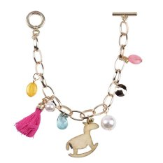 Yazilind Cute Women Gold Plated Beads Tassel Bracelet (Intl)