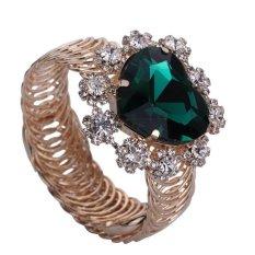 Yazilind Cute Women Green Rhinestone Gold Plated Heart-shaped With Flower Bracelet Cuff- Intl