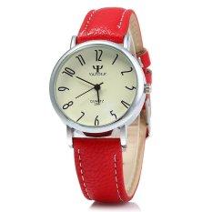 Yazole 299 Quartz Watch Women Business RED Leather BandWHITE (Intl)