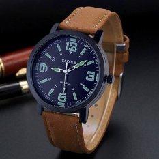 YAZOLE Luminous Watches Men Watch Luxury Famous Wristwatch Male Clock Quartz Casual Wrist Watch Black Dial (Brown Strap) - Intl
