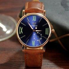 YAZOLE Quartz Watch Men Watches Wristwatch Mens Clock Fashion Quartz-watch Blue Dial (Brown Strap) - Intl