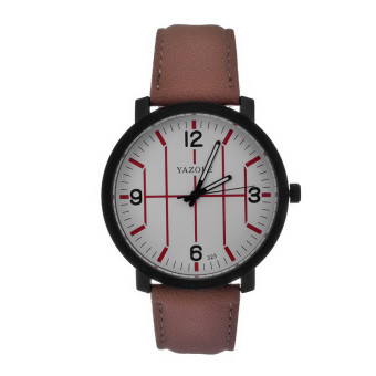 Yazole Stainless Steel Leather Band Analog Quartz Wrist Watch (White + Brown)