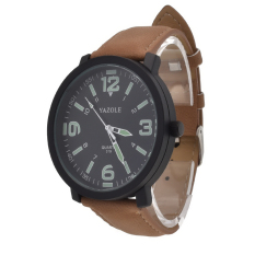 Yazole Stainless Steel Leather Band Quartz Analog Sport Wrist Watch (Black + Brown) - Intl