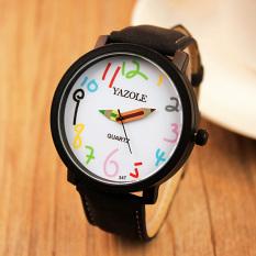 YAZOLE Unisex Business Quartz Leather Wrist Watch (White + Black)