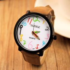 YAZOLE Unisex Business Quartz Leather Wrist Watch (White + Brown)