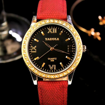 YAZOLE Women Quartz Leather Wrist Watch (Black + Red)