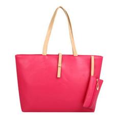 YBC Women PU Leather Shoulder Bag Tote Bag Handbag Rose Red