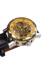 Yika Classic Sport Men's Black Leather Dial Skeleton Mechanical Army Watch (Black) (Intl)
