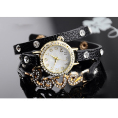 Yika Fantastic Women Girl Love Cz Dial Wrap Around Synthetic Leather Bracelet Wrist Watch (White) (Intl)